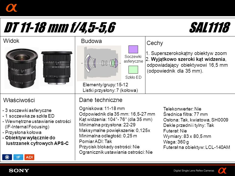 DT: For APS-size DSLR camera 1. Superszerokokątny obiektyw zoom 2.
