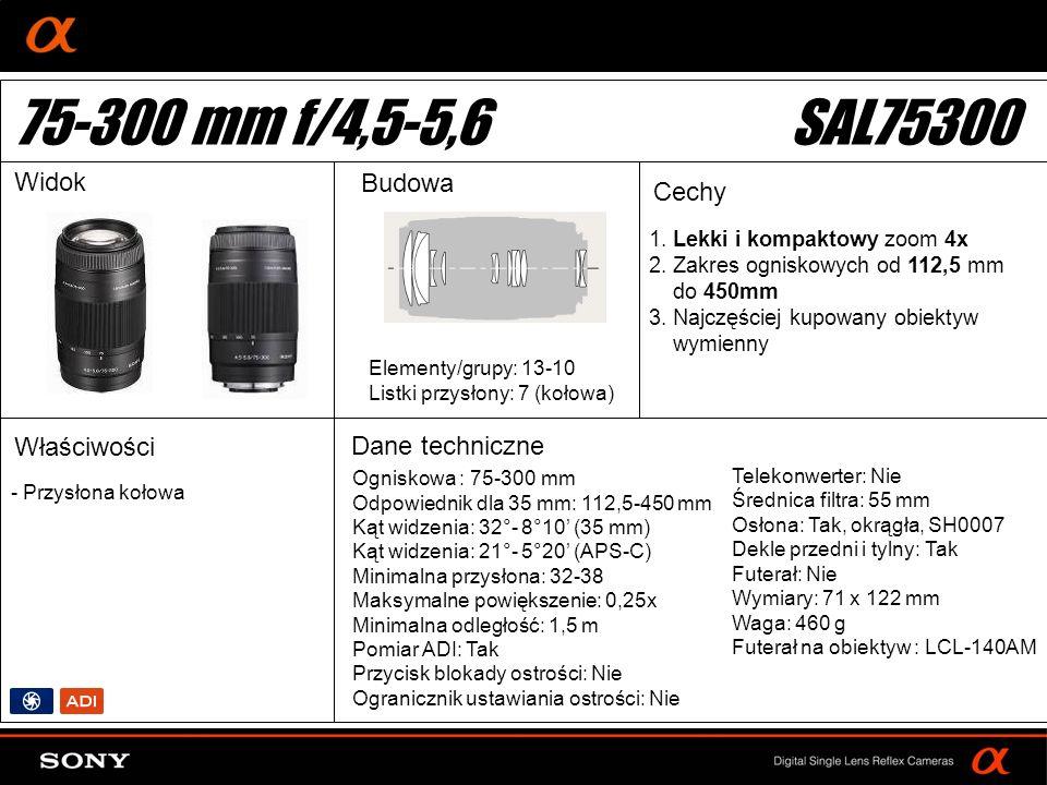 DT: For APS-size DSLR camera 1. Lekki i kompaktowy zoom 4x 2.