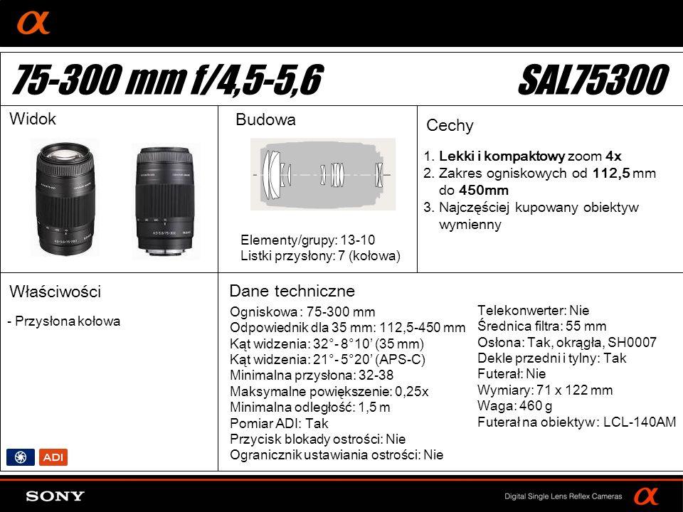 DT: For APS-size DSLR camera 1. Lekki i kompaktowy zoom 4x 2. Zakres ogniskowych od 112,5 mm do 450mm 3. Najczęściej kupowany obiektyw wymienny Ognisk