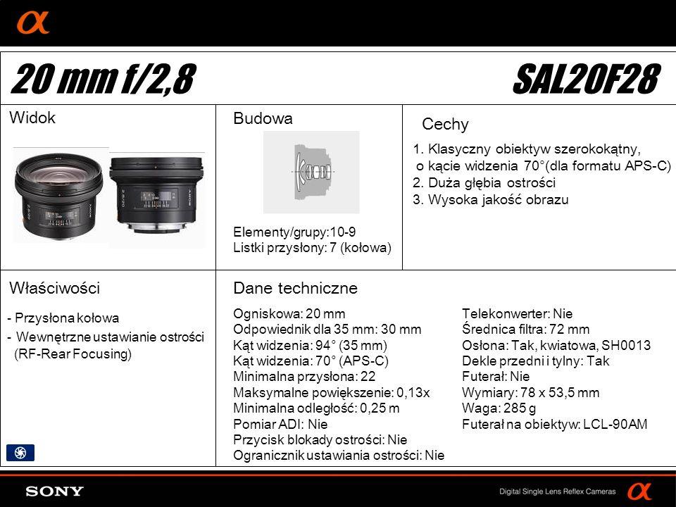 DT: For APS-size DSLR camera 1. Klasyczny obiektyw szerokokątny, o kącie widzenia 70°(dla formatu APS-C) 2. Duża głębia ostrości 3. Wysoka jakość obra
