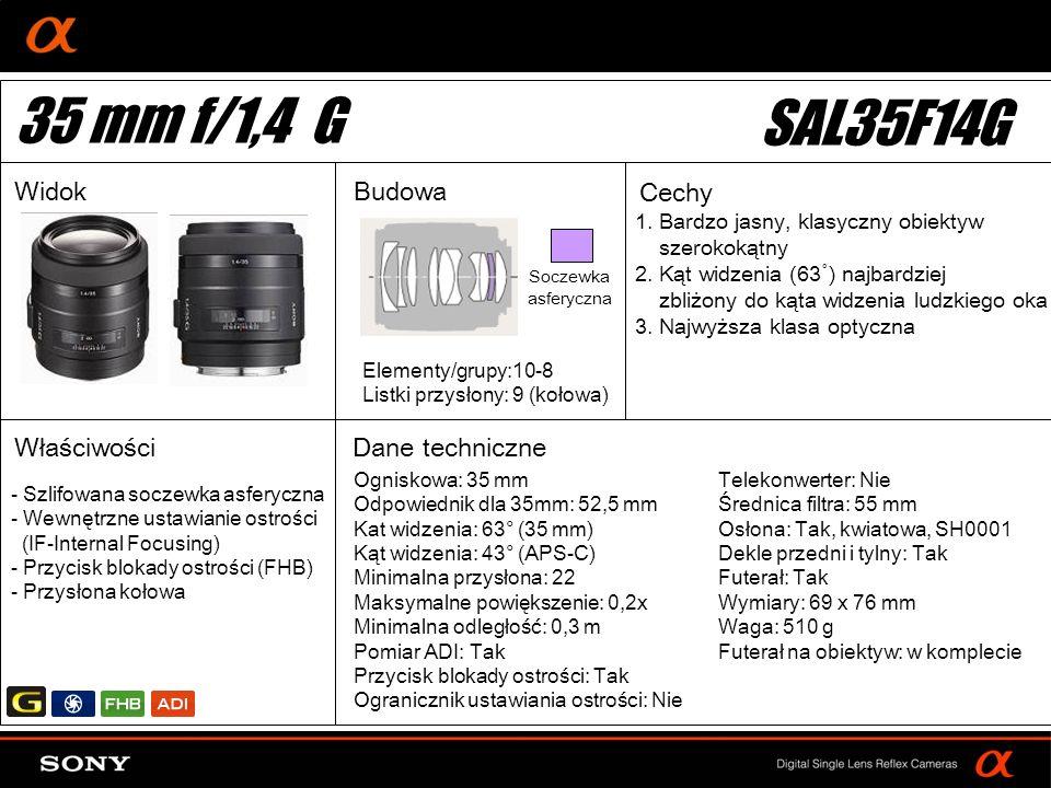 DT: For APS-size DSLR camera 1. Bardzo jasny, klasyczny obiektyw szerokokątny 2. Kąt widzenia (63˚) najbardziej zbliżony do kąta widzenia ludzkiego ok