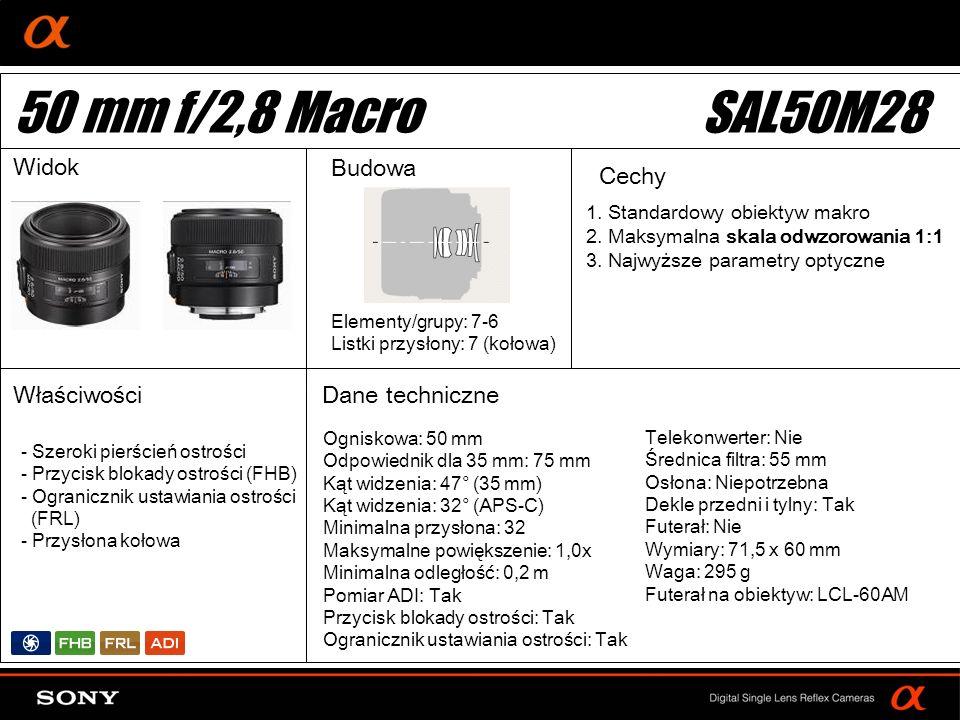 DT: For APS-size DSLR camera Ogniskowa: 50 mm Odpowiednik dla 35 mm: 75 mm Kąt widzenia: 47° (35 mm) Kąt widzenia: 32° (APS-C) Minimalna przysłona: 32