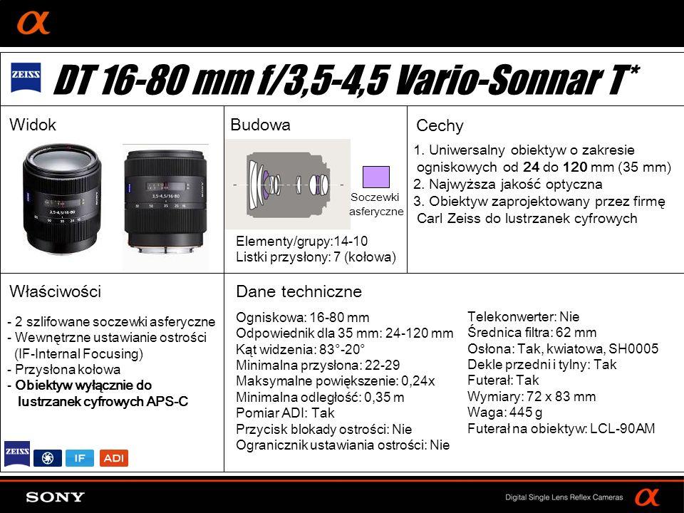 DT: For APS-size DSLR camera Ogniskowa: 16-105 mm Odpowiednik dla 35 mm: 24-157,5 mm Kąt widzenia: 83°-15° Minimalna przysłona: 22-36 Maksymalne powiększenie: 0,23x Minimalna odległość: 0,4 m Pomiar ADI: Tak Przycisk blokady ostrości: Nie Ogranicznik ustawiania ostrości: Nie Elementy/grupy:15-11 Listki przysłony: 7 (kołowa) Telekonwerter: Nie Średnica filtra: 62 mm Osłona: Tak, kwiatowa, SH105 Dekle przedni i tylny: Tak Futerał: Nie Wymiary: 72 x 83 mm Waga: 470 g Futerał na obiektyw: LCL-140AM - 2 soczewki asferyczne - 1 soczewka ze szkła ED - Wewnętrzne ustawianie ostrości (IF-Internal Focusing) - Przysłona kołowa - Obiektyw wyłącznie do lustrzanek cyfrowych APS-C Szkło ED Soczewki asferyczne DT 16-105 mm f/3,5-5,6SAL16105 Widok Budowa Cechy Właściwości Dane techniczne 1.