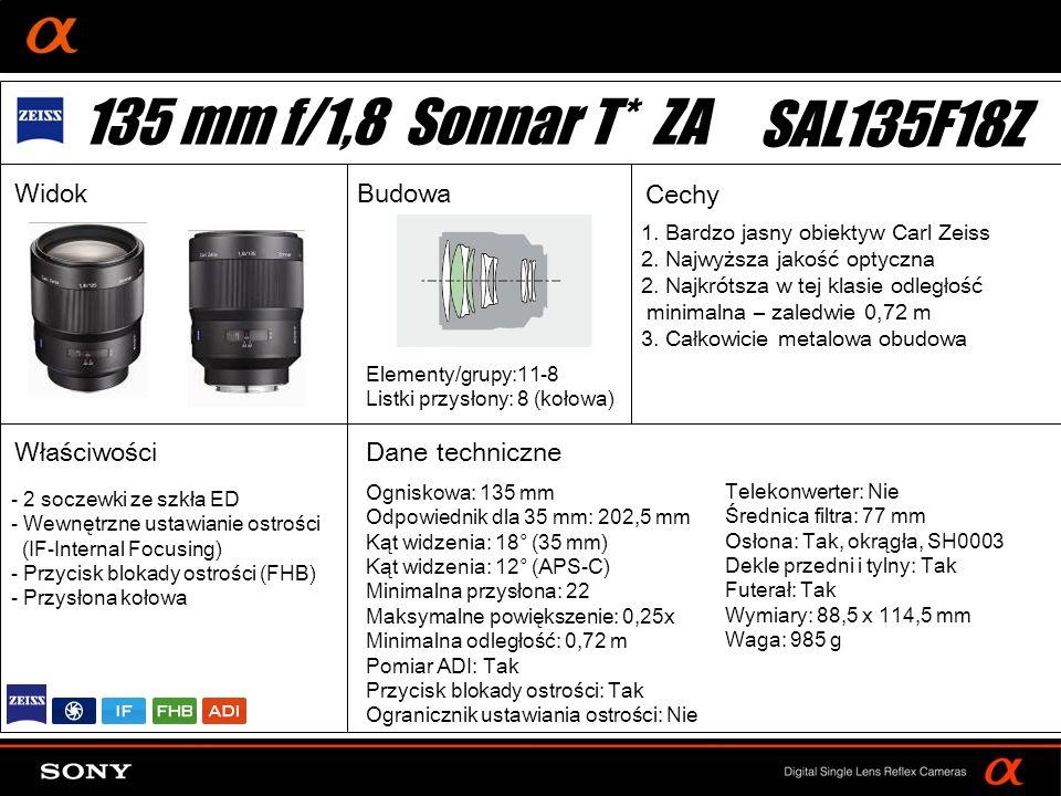 DT: For APS-size DSLR camera 1. Bardzo jasny obiektyw Carl Zeiss 2. Najwyższa jakość optyczna 2. Najkrótsza w tej klasie odległość minimalna – zaledwi