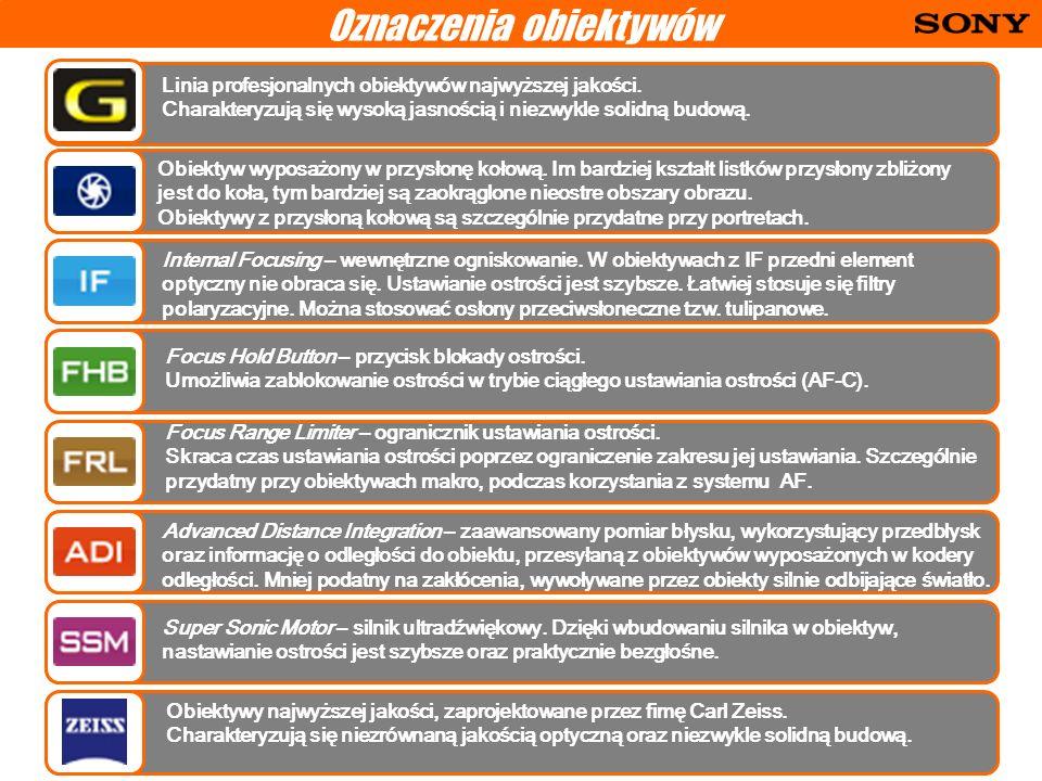 Oznaczenia obiektywów Linia profesjonalnych obiektywów najwyższej jakości.