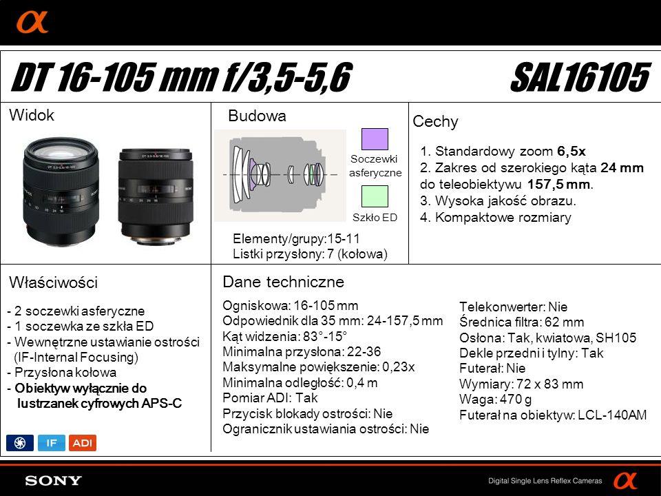 DT: For APS-size DSLR camera Ogniskowa: 16-105 mm Odpowiednik dla 35 mm: 24-157,5 mm Kąt widzenia: 83°-15° Minimalna przysłona: 22-36 Maksymalne powię