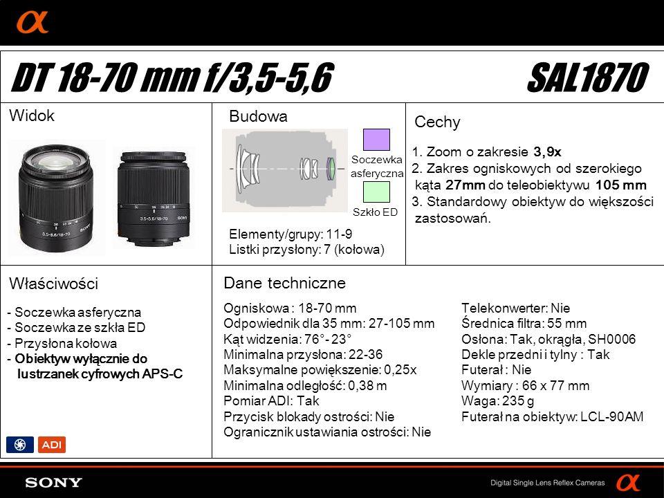 DT: For APS-size DSLR camera Widok Budowa Cechy 1. Zoom o zakresie 3,9x 2. Zakres ogniskowych od szerokiego kąta 27mm do teleobiektywu 105 mm 3. Stand