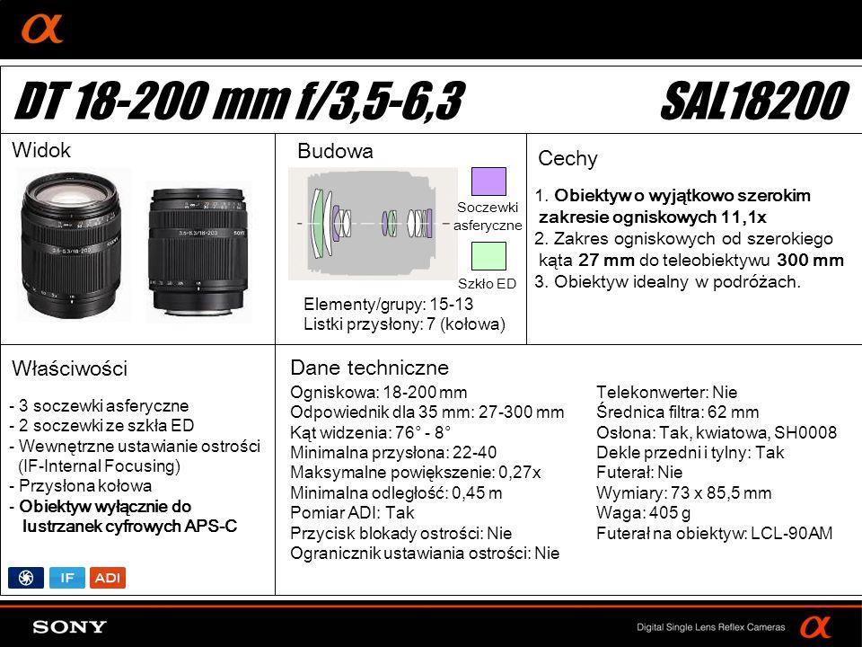 DT: For APS-size DSLR camera 1. Obiektyw o wyjątkowo szerokim zakresie ogniskowych 11,1x 2. Zakres ogniskowych od szerokiego kąta 27 mm do teleobiekty