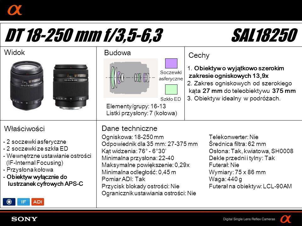 DT: For APS-size DSLR camera 1. Obiektyw o wyjątkowo szerokim zakresie ogniskowych 13,9x 2. Zakres ogniskowych od szerokiego kąta 27 mm do teleobiekty
