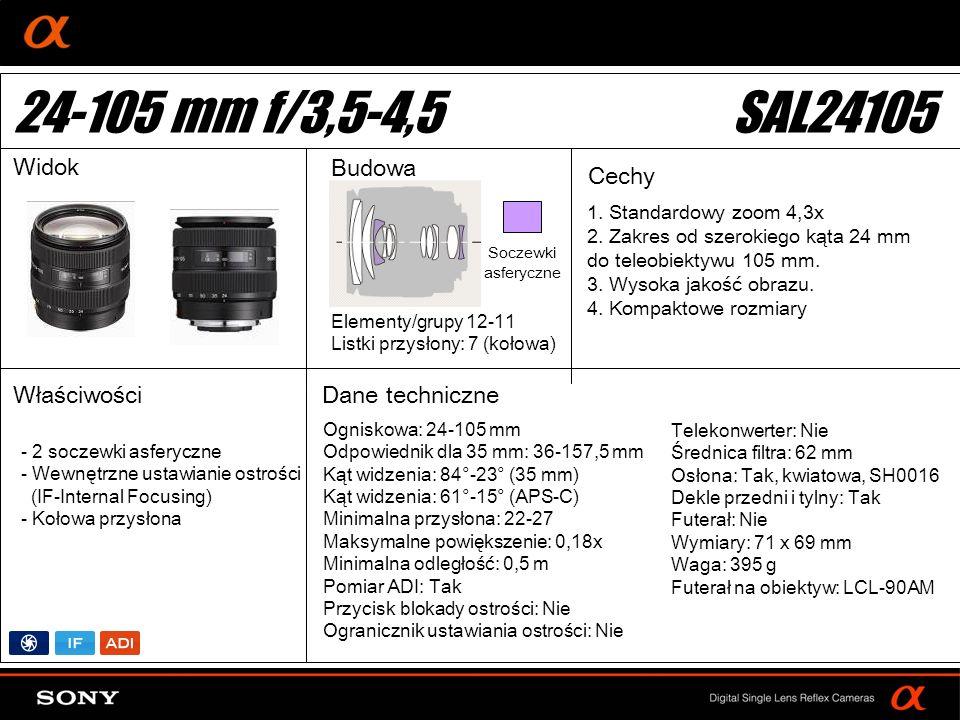 DT: For APS-size DSLR camera Ogniskowa: 24-105 mm Odpowiednik dla 35 mm: 36-157,5 mm Kąt widzenia: 84°-23° (35 mm) Kąt widzenia: 61°-15° (APS-C) Minim