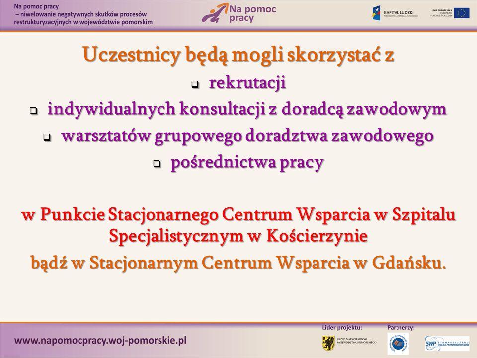 Uczestnicy będą mogli skorzystać z rekrutacji rekrutacji indywidualnych konsultacji z doradcą zawodowym indywidualnych konsultacji z doradcą zawodowym warsztatów grupowego doradztwa zawodowego warsztatów grupowego doradztwa zawodowego pośrednictwa pracy pośrednictwa pracy w Punkcie Stacjonarnego Centrum Wsparcia w Szpitalu Specjalistycznym w Kościerzynie bądź w Stacjonarnym Centrum Wsparcia w Gdańsku.