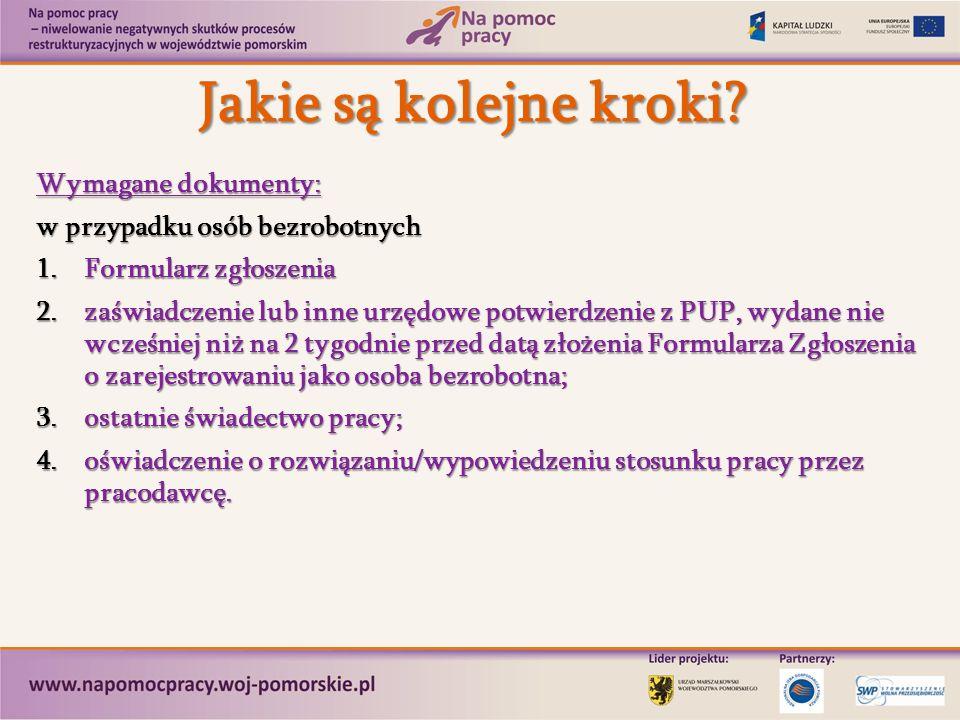 www.napomocpracy.woj-pomorskie.pl Szczegółowe informacje dostępne na stronie: