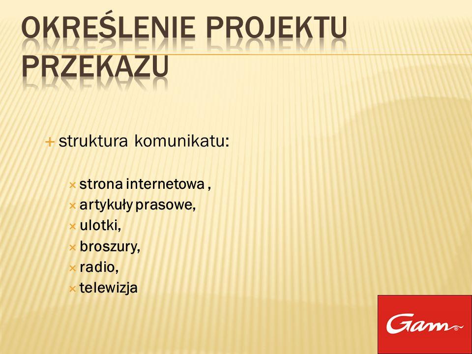 struktura komunikatu: strona internetowa, artykuły prasowe, ulotki, broszury, radio, telewizja