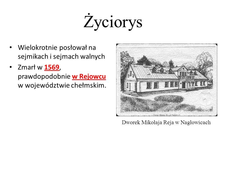 Życiorys Dworek Mikołaja Reja w Nagłowicach Wielokrotnie posłował na sejmikach i sejmach walnych Zmarł w 1569, prawdopodobnie w Rejowcu w województwie