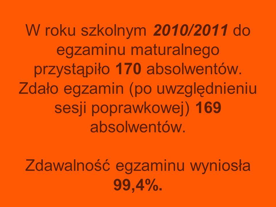 W roku szkolnym 2010/2011 do egzaminu maturalnego przystąpiło 170 absolwentów. Zdało egzamin (po uwzględnieniu sesji poprawkowej) 169 absolwentów. Zda