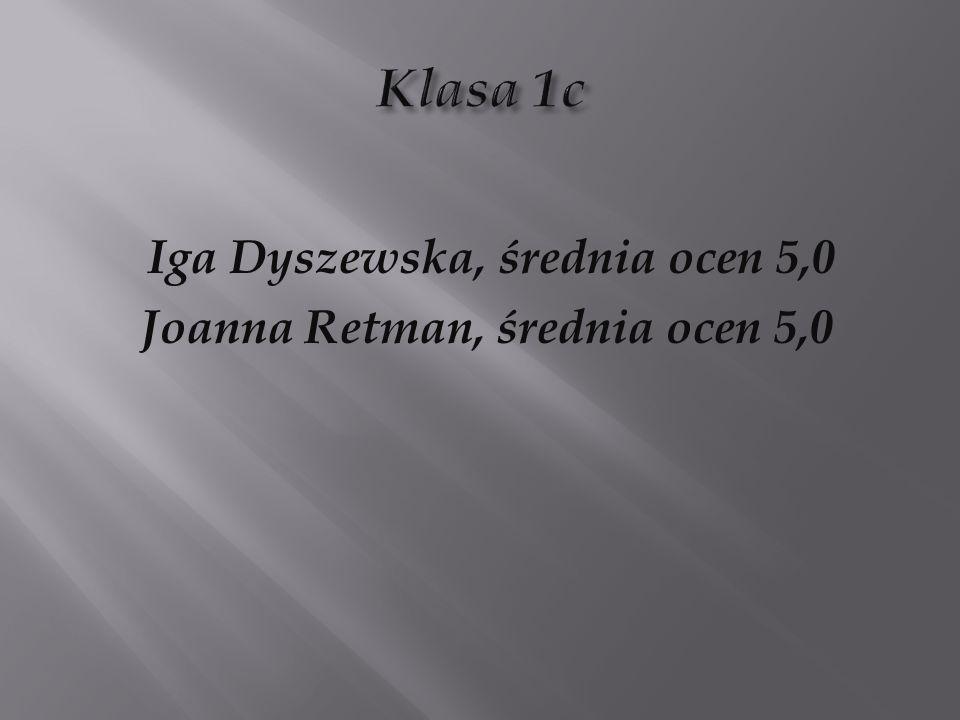 Iga Dyszewska, średnia ocen 5,0 Joanna Retman, średnia ocen 5,0