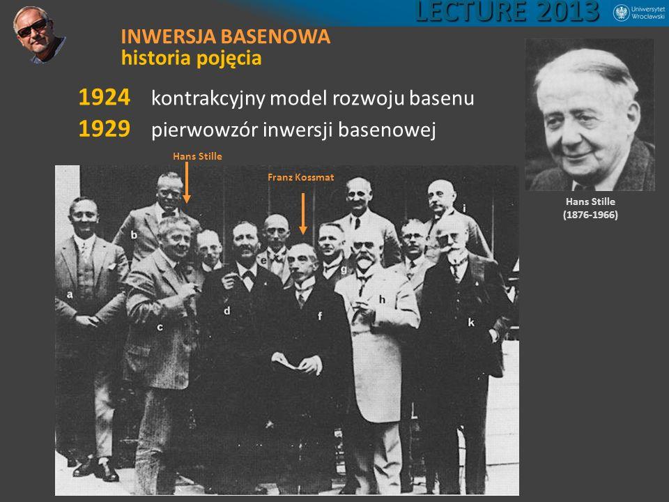 1924 kontrakcyjny model rozwoju basenu Hans Stille (1876-1966) 1929 pierwowzór inwersji basenowej Franz Kossmat Hans Stille LECTURE 2013 INWERSJA BASE