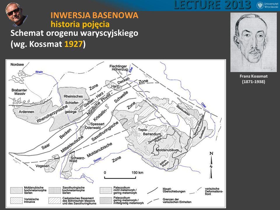 Schemat orogenu waryscyjskiego (wg. Kossmat 1927) Franz Kossmat (1871-1938) LECTURE 2013 INWERSJA BASENOWA historia pojęcia