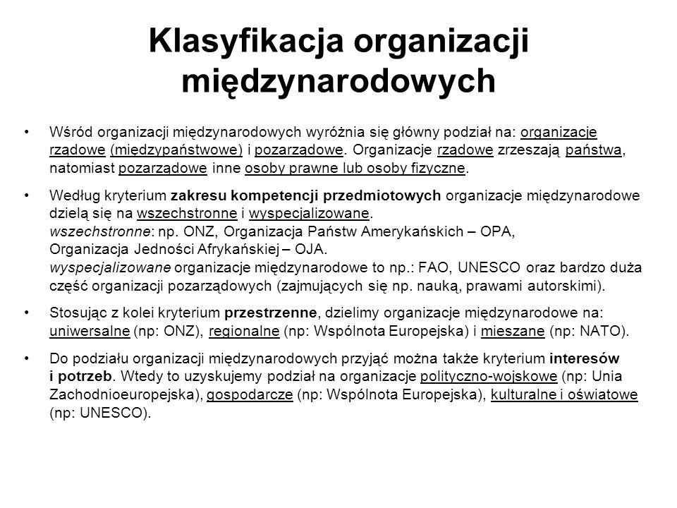 Klasyfikacja organizacji międzynarodowych Wśród organizacji międzynarodowych wyróżnia się główny podział na: organizacje rządowe (międzypaństwowe) i p
