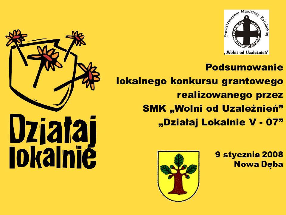 Podsumowanie lokalnego konkursu grantowego realizowanego przez SMK Wolni od Uzależnień Działaj Lokalnie V - 07 9 stycznia 2008 Nowa Dęba