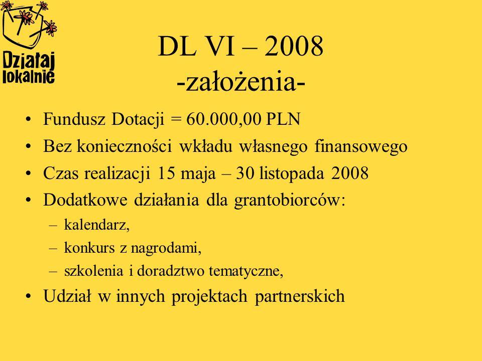 DL VI – 2008 -założenia- Fundusz Dotacji = 60.000,00 PLN Bez konieczności wkładu własnego finansowego Czas realizacji 15 maja – 30 listopada 2008 Dodatkowe działania dla grantobiorców: –kalendarz, –konkurs z nagrodami, –szkolenia i doradztwo tematyczne, Udział w innych projektach partnerskich