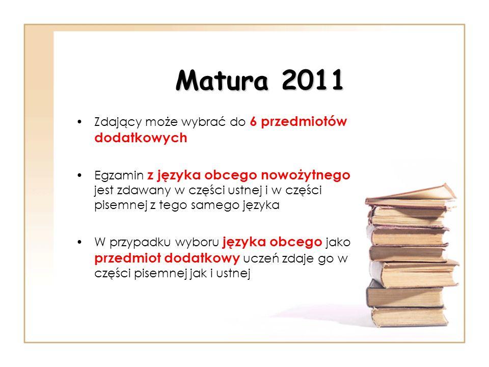 Matura 2011 Zdający może wybrać do 6 przedmiotów dodatkowych Egzamin z języka obcego nowożytnego jest zdawany w części ustnej i w części pisemnej z te