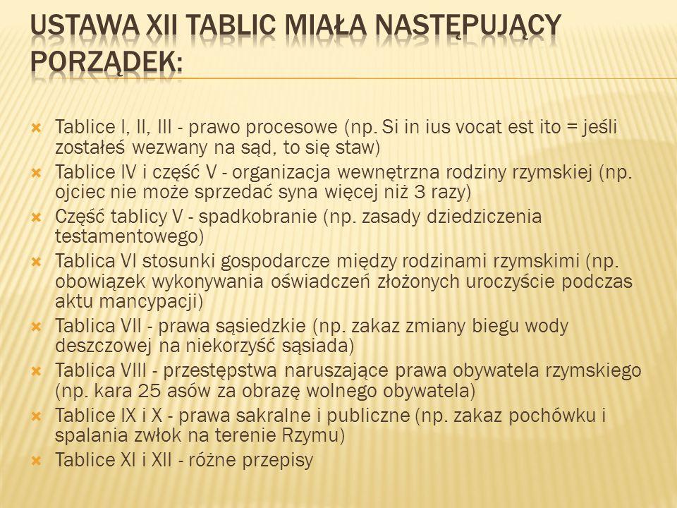 Tablice I, II, III - prawo procesowe (np. Si in ius vocat est ito = jeśli zostałeś wezwany na sąd, to się staw) Tablice IV i część V - organizacja wew