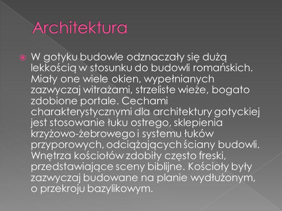 W gotyku budowle odznaczały się dużą lekkością w stosunku do budowli romańskich. Miały one wiele okien, wypełnianych zazwyczaj witrażami, strzeliste w