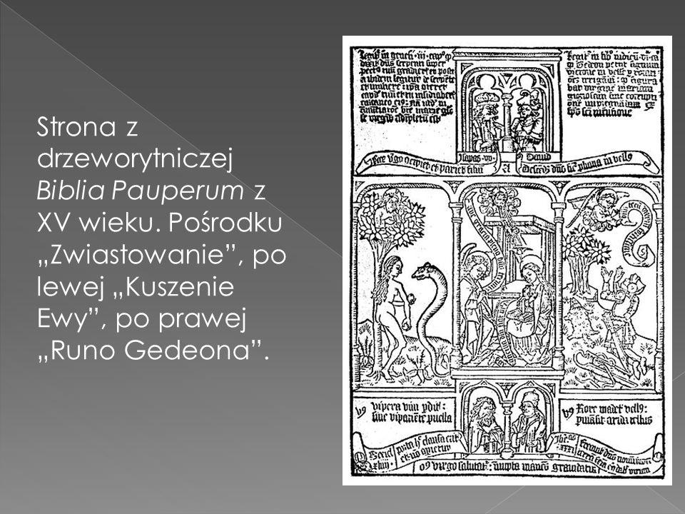 Strona z drzeworytniczej Biblia Pauperum z XV wieku. Pośrodku Zwiastowanie, po lewej Kuszenie Ewy, po prawej Runo Gedeona.