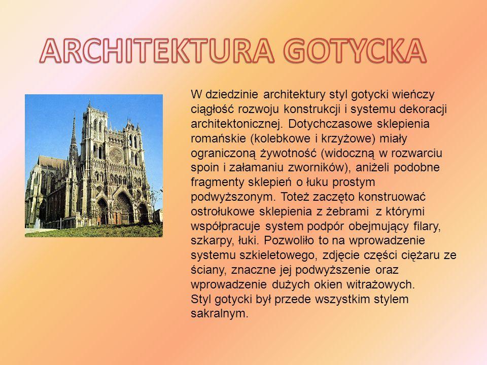 W dziedzinie architektury styl gotycki wieńczy ciągłość rozwoju konstrukcji i systemu dekoracji architektonicznej. Dotychczasowe sklepienia romańskie