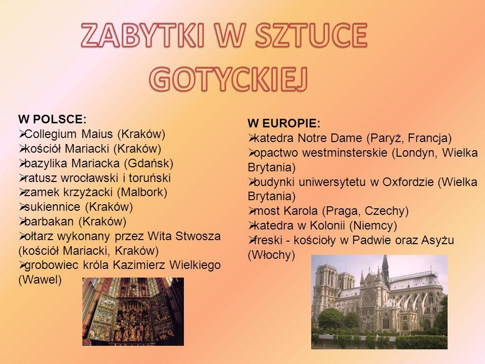 W POLSCE: Collegium Maius (Kraków) kościół Mariacki (Kraków) bazylika Mariacka (Gdańsk) ratusz wrocławski i toruński zamek krzyżacki (Malbork) sukienn