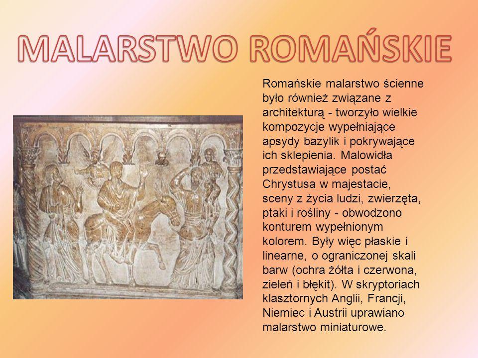 Romańskie malarstwo ścienne było również związane z architekturą - tworzyło wielkie kompozycje wypełniające apsydy bazylik i pokrywające ich sklepieni