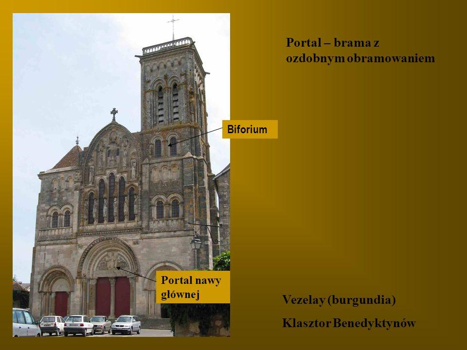 Portal – brama z ozdobnym obramowaniem Vezelay (burgundia) Klasztor Benedyktynów Biforium Portal nawy głównej