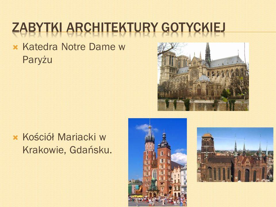 Katedra Notre Dame w Paryżu Kościół Mariacki w Krakowie, Gdańsku.