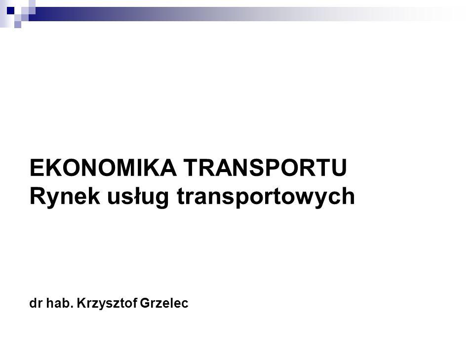 EKONOMIKA TRANSPORTU Rynek usług transportowych dr hab. Krzysztof Grzelec