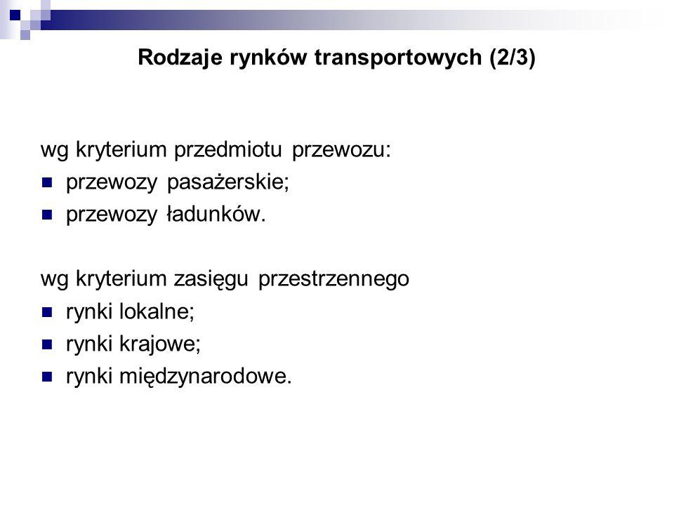 Rodzaje rynków transportowych (2/3) wg kryterium przedmiotu przewozu: przewozy pasażerskie; przewozy ładunków. wg kryterium zasięgu przestrzennego ryn