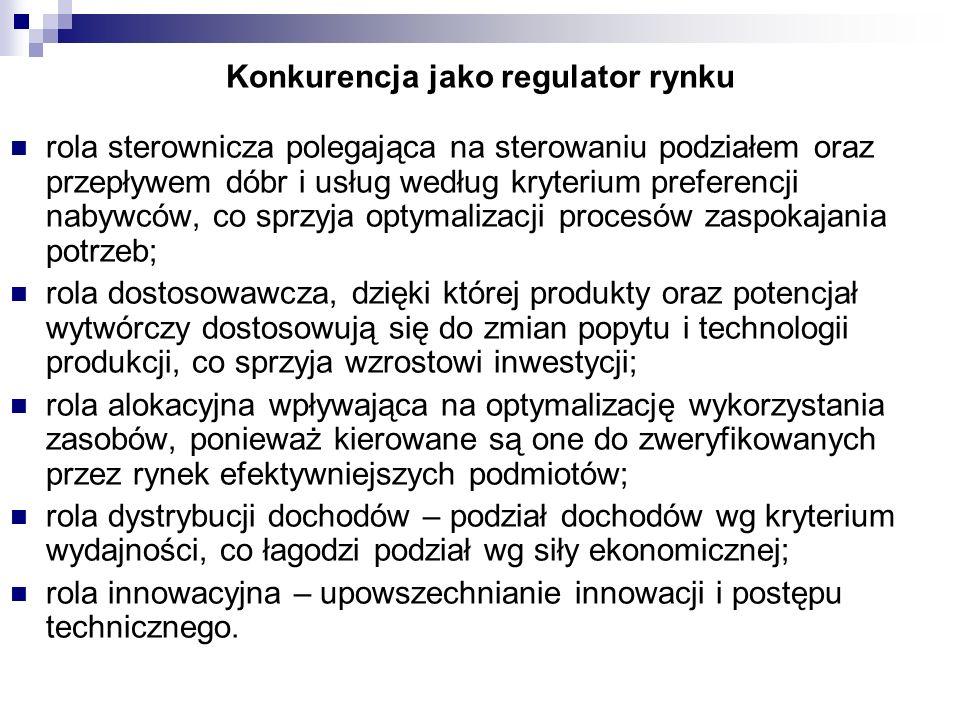 Konkurencja jako regulator rynku rola sterownicza polegająca na sterowaniu podziałem oraz przepływem dóbr i usług według kryterium preferencji nabywcó