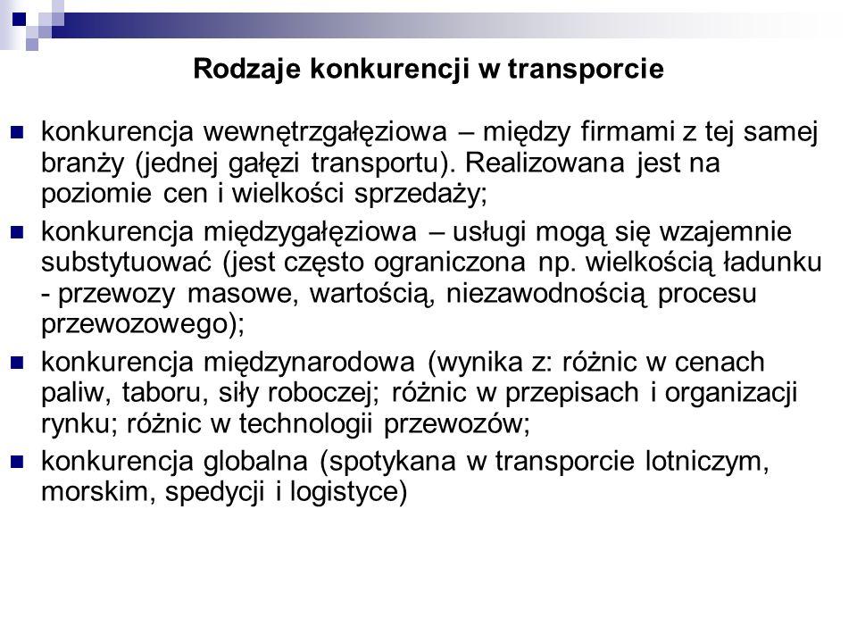 Rodzaje konkurencji w transporcie konkurencja wewnętrzgałęziowa – między firmami z tej samej branży (jednej gałęzi transportu). Realizowana jest na po