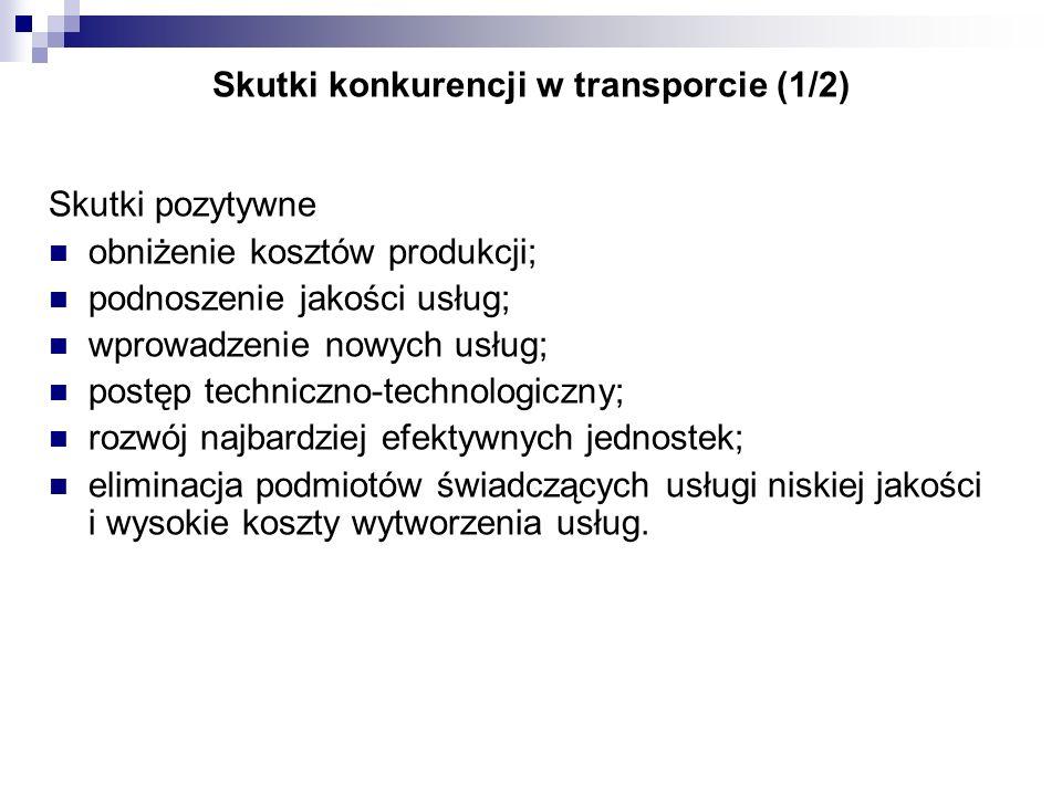 Skutki konkurencji w transporcie (1/2) Skutki pozytywne obniżenie kosztów produkcji; podnoszenie jakości usług; wprowadzenie nowych usług; postęp tech