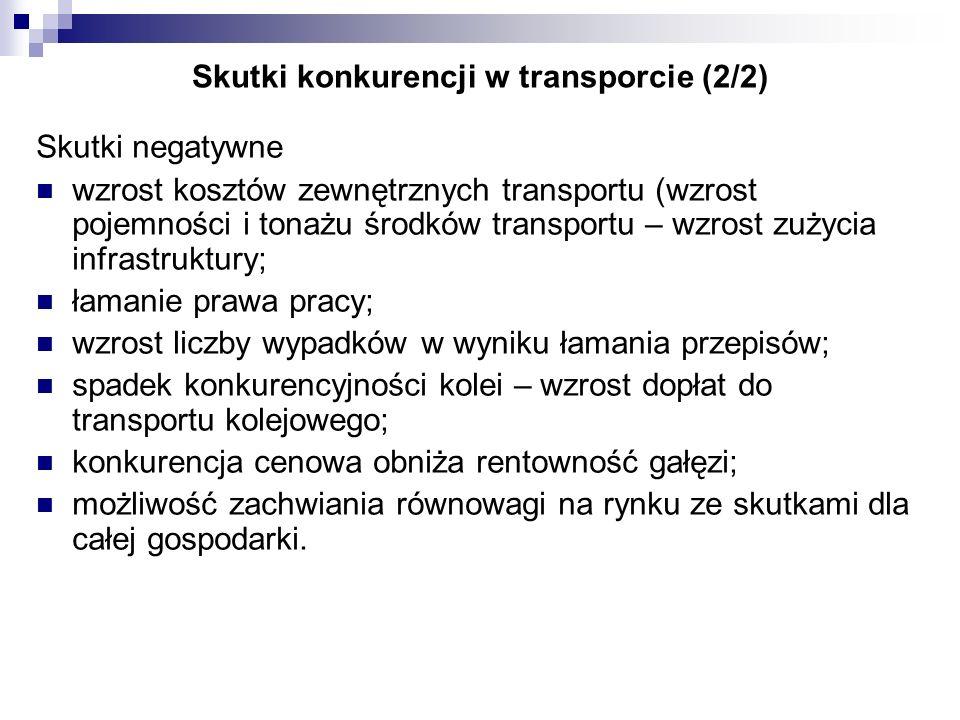 Skutki konkurencji w transporcie (2/2) Skutki negatywne wzrost kosztów zewnętrznych transportu (wzrost pojemności i tonażu środków transportu – wzrost