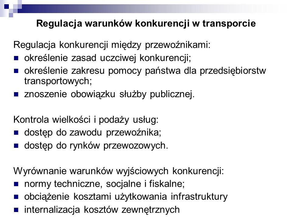 Regulacja warunków konkurencji w transporcie Regulacja konkurencji między przewoźnikami: określenie zasad uczciwej konkurencji; określenie zakresu pom