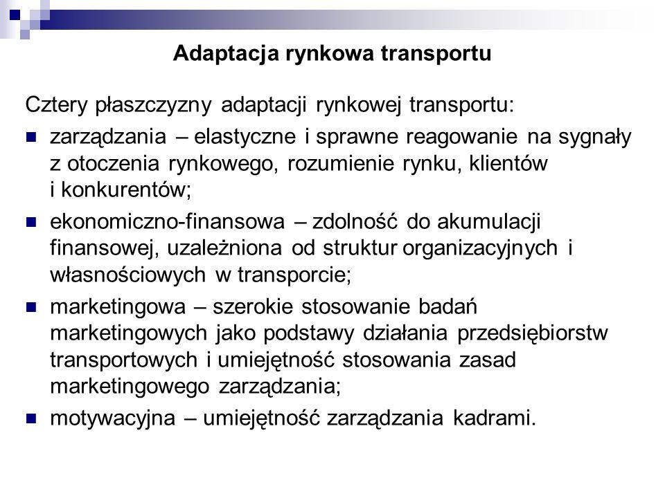 Adaptacja rynkowa transportu Cztery płaszczyzny adaptacji rynkowej transportu: zarządzania – elastyczne i sprawne reagowanie na sygnały z otoczenia ry