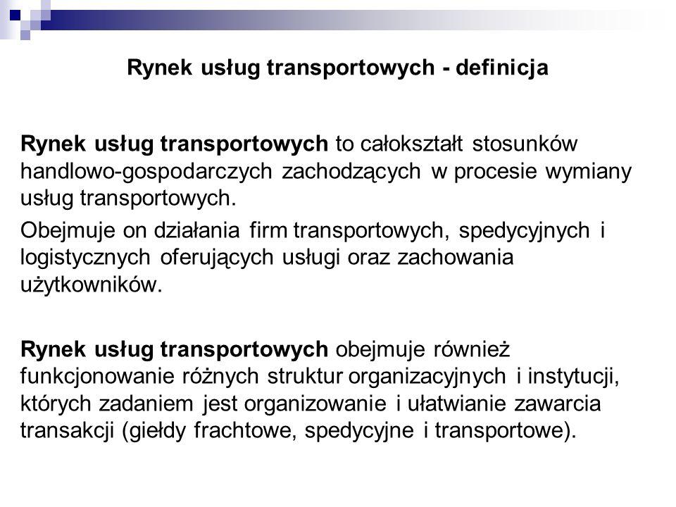 Rynek usług transportowych - definicja Rynek usług transportowych to całokształt stosunków handlowo-gospodarczych zachodzących w procesie wymiany usłu