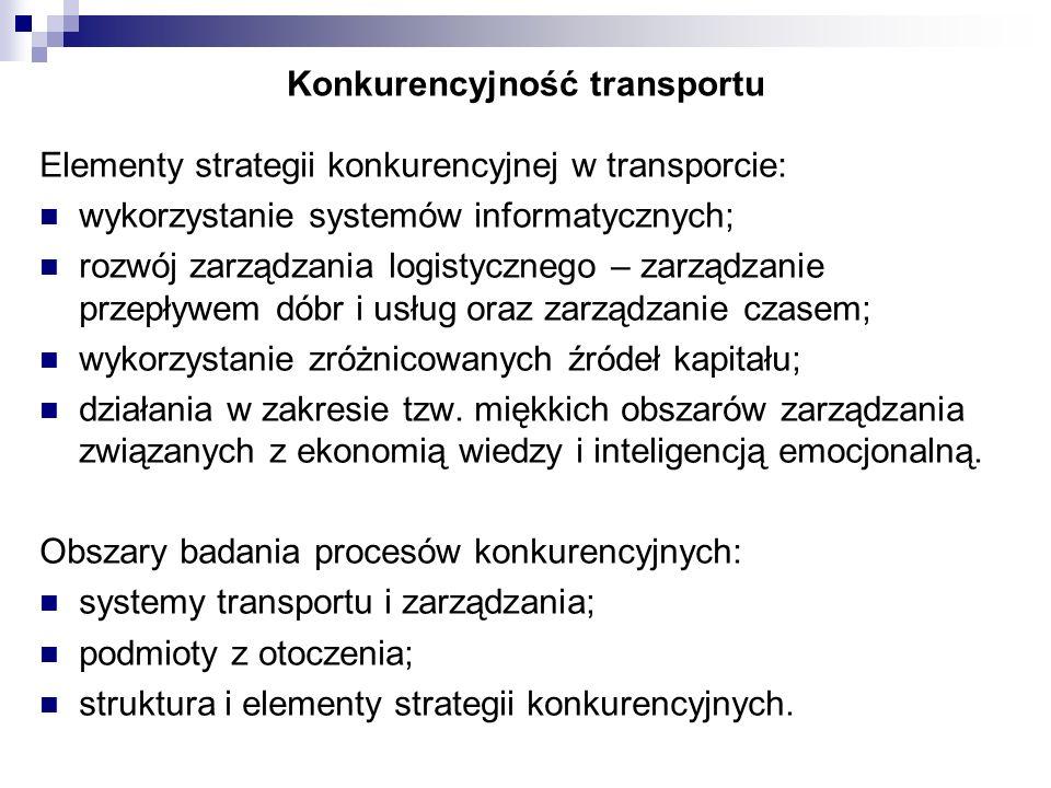 Konkurencyjność transportu Elementy strategii konkurencyjnej w transporcie: wykorzystanie systemów informatycznych; rozwój zarządzania logistycznego –