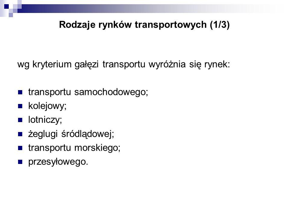 Rodzaje rynków transportowych (1/3) wg kryterium gałęzi transportu wyróżnia się rynek: transportu samochodowego; kolejowy; lotniczy; żeglugi śródlądow