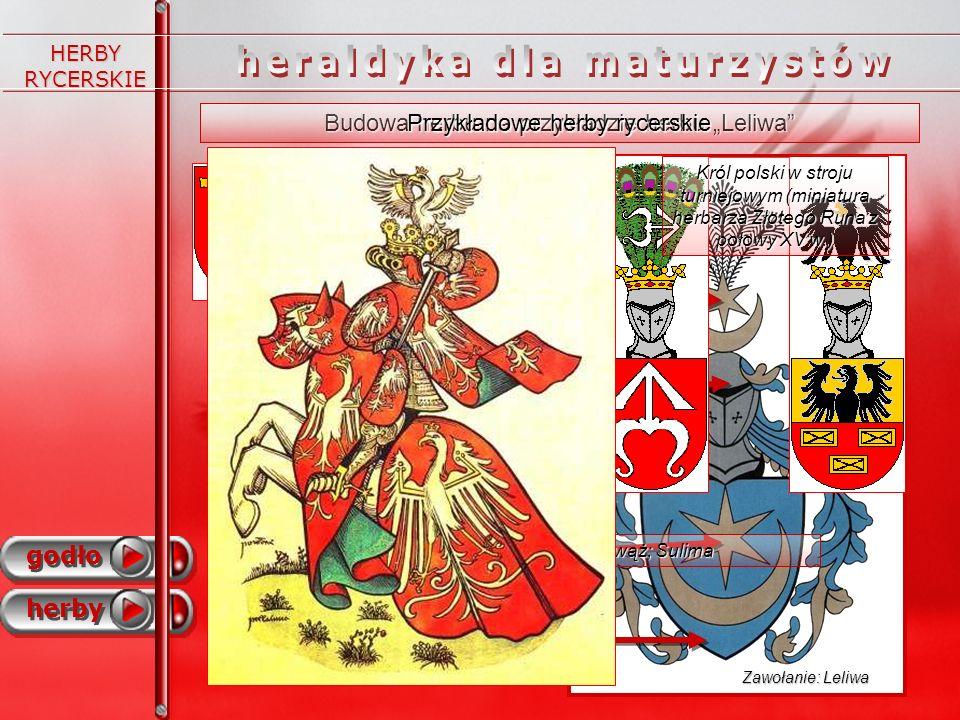 HERBY RYCERSKIE Budowa herbu na przykładzie herbu Leliwa godło herby tarcza heraldyczna godło herb hełm (ozdoba herbowa) klejnot (często powtarza elem