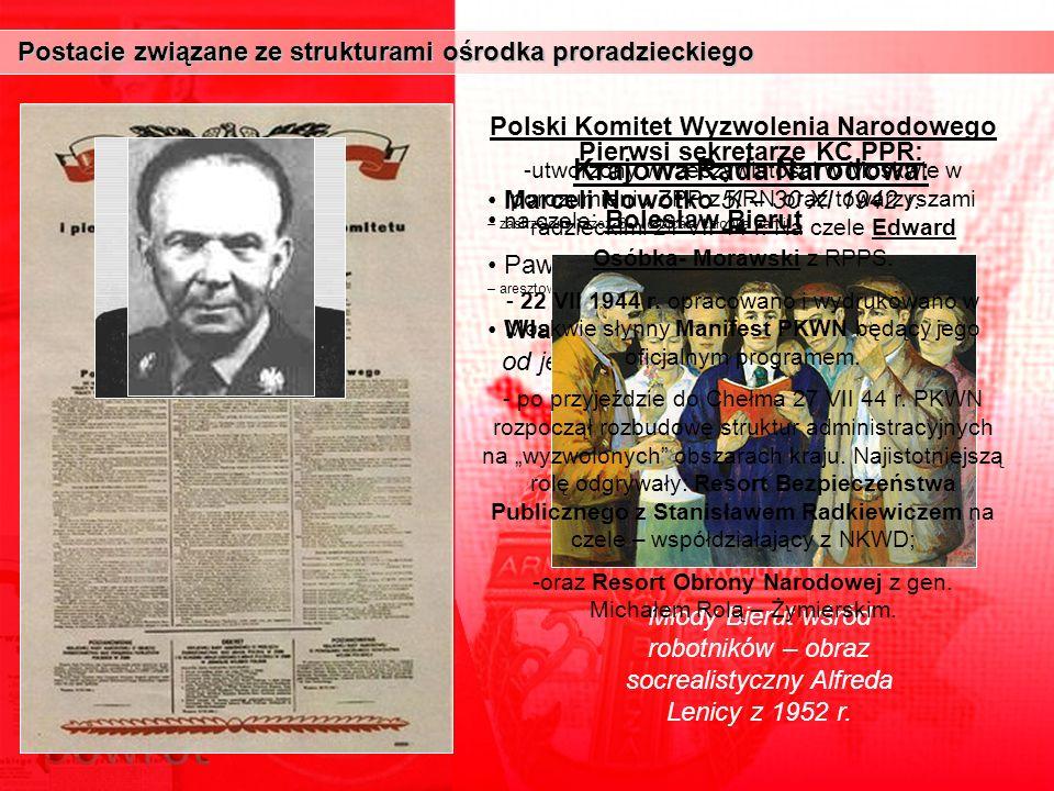 Postacie związane ze strukturami ośrodka proradzieckiego Postacie związane ze strukturami ośrodka proradzieckiego Pierwsi sekretarze KC PPR: Marceli N