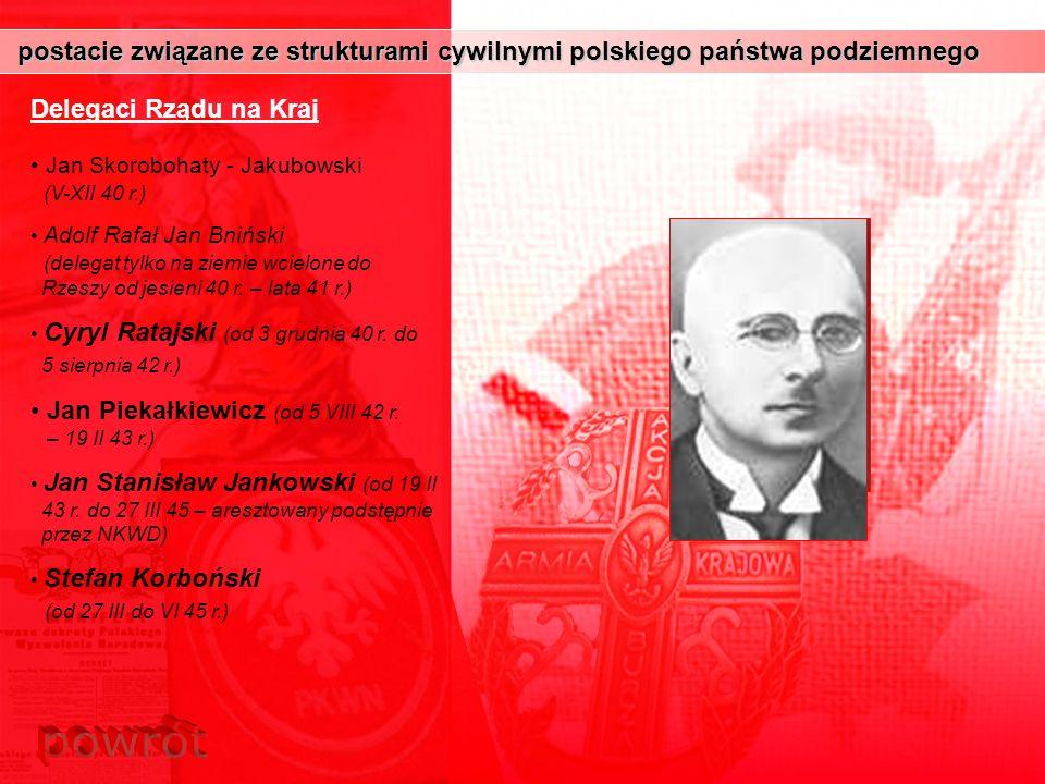 postacie związane ze strukturami cywilnymi polskiego państwa podziemnego postacie związane ze strukturami cywilnymi polskiego państwa podziemnego Dele
