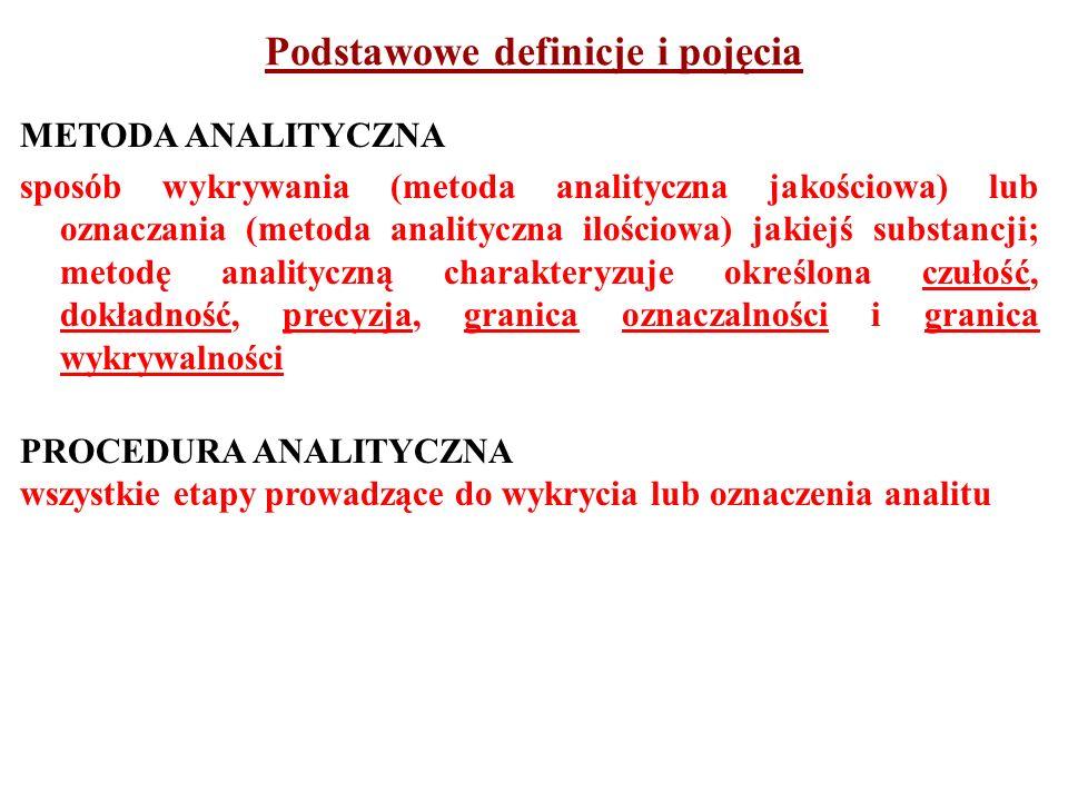 WYKRYWANIE postępowanie według określonej procedury analitycznej mające na celu stwierdzenie obecności lub nieobecności (na poziomie dostępnym dla danej metody) analitu w badanej próbce WYKRYWALNOŚĆ - granica wykrywalności najmniejsze stężenie lub ilość analitu, które można wykryć daną metodą z określonym prawdopodobieństwem OZNACZALNOŚĆ - granica oznaczalności najmniejsze stężenie lub ilość analitu, które można oznaczyć daną metodą Podstawowe definicje i pojęcia