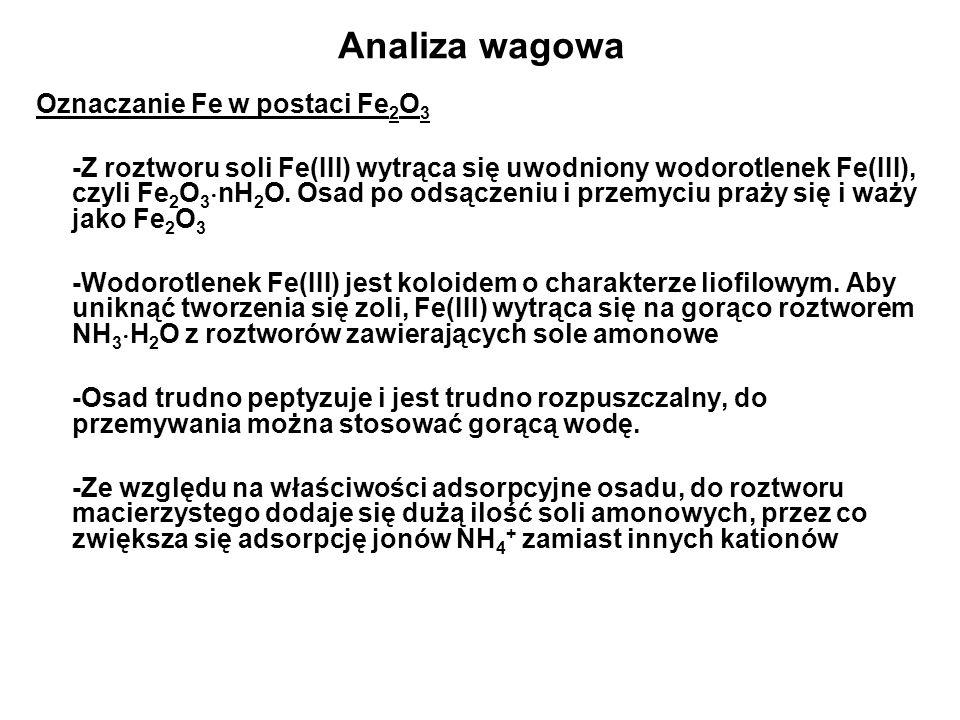 Analiza wagowa Oznaczanie Fe w postaci Fe 2 O 3 -Z roztworu soli Fe(III) wytrąca się uwodniony wodorotlenek Fe(III), czyli Fe 2 O 3 nH 2 O.